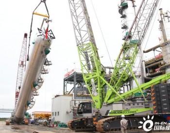 松原采气厂西列吸收塔(T-3221)顺利拆除并一次吊装成功