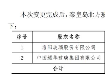 洛阳玻璃:完成收购秦皇岛北方玻璃60%的股权