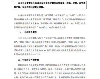 中利集团:子公司腾晖光伏中标国网浙江综合能源服务第二批<em>光伏组件集采</em>项目