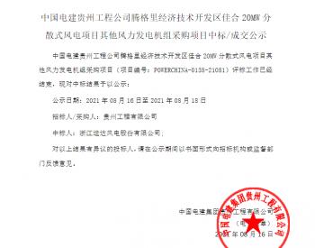 中标丨中国电建贵州工程公司腾格里经济技术开发区佳合20MW分散式风电项目其他风力发电机组采购项目入围公示
