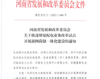 河南启动增量配电业务改革试点源网荷储一体化项目申报