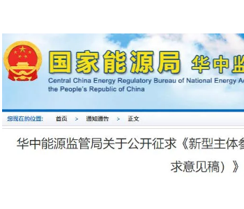 国家能源局华中监管局发布新型主体参与华中<em>电力调峰</em>辅助服务市场规则(征求意见稿)