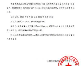 中标 丨中国电建湖北工程公司宿州风电EPC项目风力发电机组设备采购项目入围公示