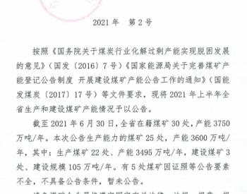 辽宁省发改委发布关于2021年上半年辽宁省生产和建设<em>煤矿产能</em>的情况