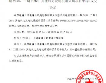 中标丨中国电建上海电建公司陕西吴起县新寨乡分散式风电场项目(一期20MW、二期20MW)其他风力发电机组采购项目入围公示