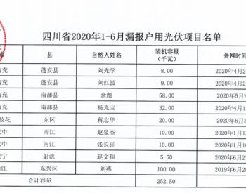 2020年1-6月四川省纳入国补规模户用光伏项目名单统计数据表(漏报)