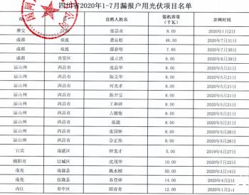 2020年1-7月四川省纳入国补规模户用光伏项目名单统计数据表(漏报)