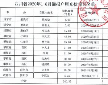 2020年1-8月四川省纳入国补规模户用光伏项目名单统计数据表(漏报)