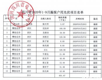 2020年1-9月四川省纳入国补规模户用光伏项目名单统计数据表(漏报)