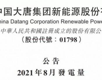 <em>大唐新能源</em>2021年前8月累计完成发电量1729.86万兆瓦时,同比增加30.9%