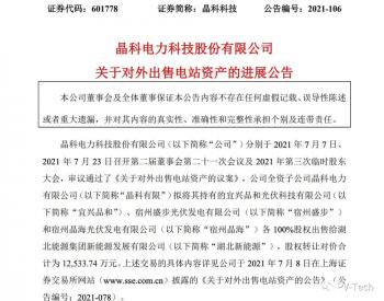 1.25亿元!<em>晶科科技</em>完成宿州盛步、宿州晶海股权转让