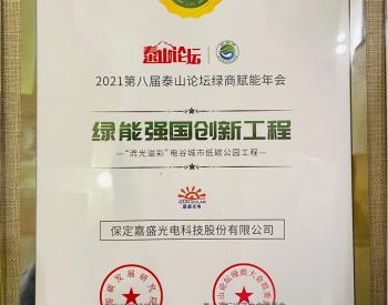 """英利嘉盛BIPV项目荣膺""""绿能强国创新工程"""""""