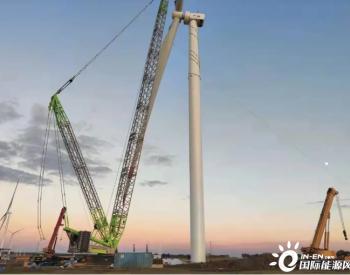"""河北康保100MW平价风电示范项目""""跑步""""完成全部风机吊装"""