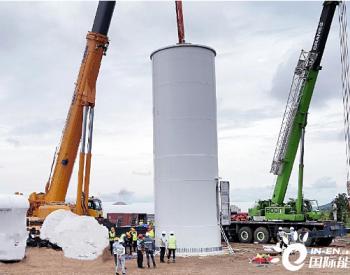 中国能建总承包越南嘉莱风电项目首台风机开吊