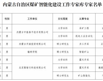内蒙古自治区能源局关于建立内蒙古自治区煤矿智能化建设工作专家库的公示