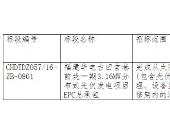 招标   福建华电古田吉巷前垅一期3.16MW<em>分布式光伏发电</em>项目EPC总承包项目招标公告