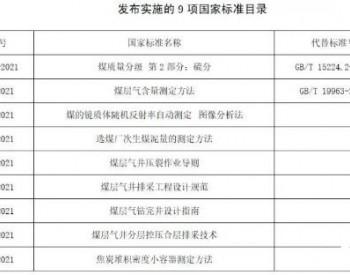 9项煤炭领域国家标准正式发布