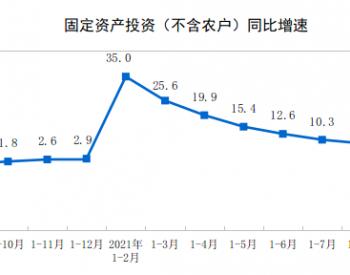 2021年1-9月份全国固定资产投资(不含农户)增长7