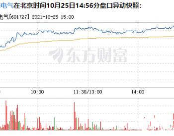 上海电气10月25日盘中涨幅达5%