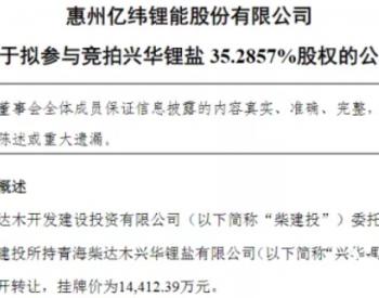 亿纬锂能拟1.44亿竞拍锂盐公司股权