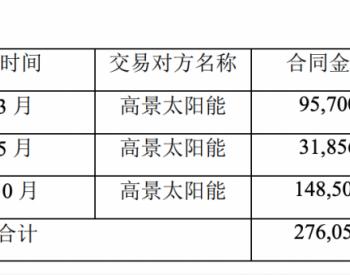 晶盛机电与高景太阳能累计签订27.61亿元设备销售