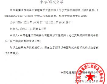 中标   中国电建江西装备公司镀锌加工件采购1光伏